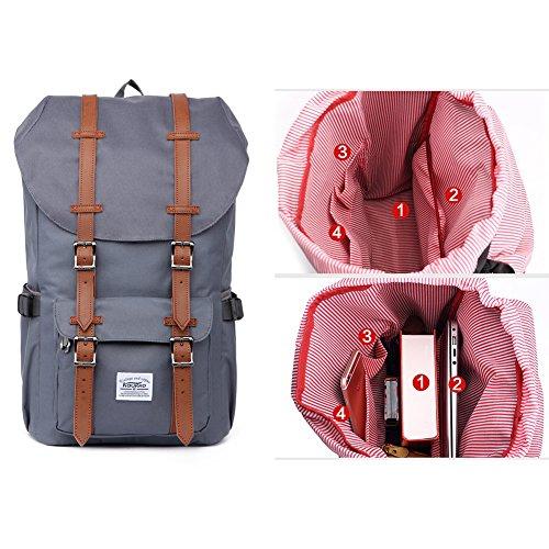 Mochila portátil Unisex Paquete de ocio de moda Para excursiones al aire libre viajes camping Por KAUKKO (Lona Ejercito verde) Nylon Gris
