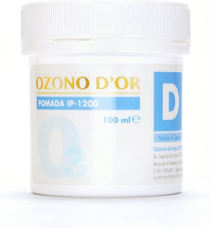 OZONO DOR. Pomada Desinfectante Natural de Ozono IP-1200 (100ml). Para heridas abiertas, úlceras, dermatitis, psoriasis, quemaduras, herpes, verrugas y hongos (fungicida). Eficaz en hemorroides
