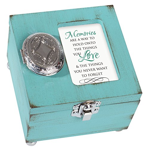 Cottage Garden Memories Hold Love Never Forget 4.5 x 4.5 inch Distressed Coral Wood Locket Jewelry Keepsake Box