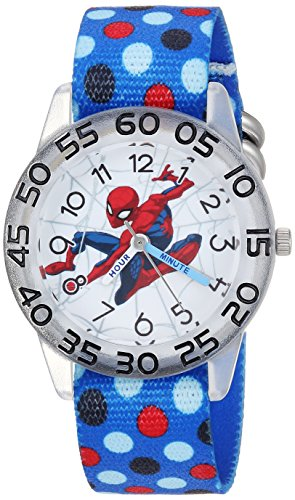 Marvel Boy's 'Spider-Man' Quartz Plastic and Nylon Casual Watch, Color:Blue (Model: WMA000183)