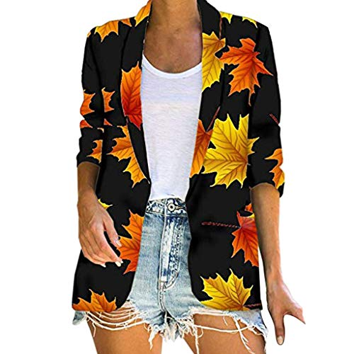 KLFGJ Ladies Bohemian Beach Cardigan Woman Print Leisure Oversized Coat Flowers Loose Outwear Long Sleeve Black
