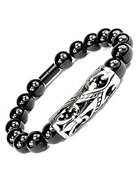 ONE ION Protector's Black Tourmaline Bracelet - Premium 10mm Tourmaline - Magnetic Clasp - 3 Sizes
