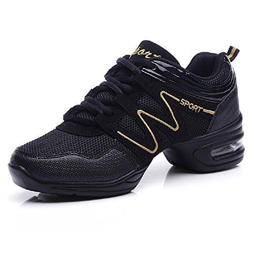D2c Bellezza Donna Maglia Jazz Suola Morbida Scarpe Da Ballo Sport Sneakers In Oro Nero