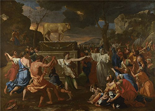 Oil Painting 'Nicolas Poussin The Adoration Of The Golden Calf' 30 x 42 inch / 76 x 107 cm , on High Definition HD canvas prints is for Gifts And - Bill Sunglasses Bass