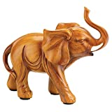 MyEasyShopping Lucky Elephant Figurine, Lucky Elephant Wood Look Figurine Statue, Lucky Elephant Wood Look Figurine Statue Decor Gifts New Trunk Up Collectible Good Gift Carved Home Accent Thailand