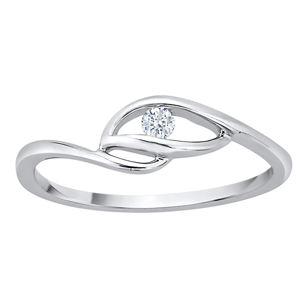 Diamond Solitaire Promise Ring in Sterling Silver (1/20 cttw) (GH Color, I2-I3 Clarity) (Size-11)