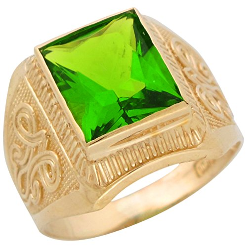 Jewelry Liquidation 10k Yellow Gold Simulated Peridot August Birthstone Mens Wide Ring