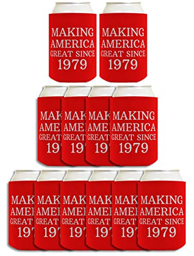40th Birthday Gift Ideas Making America Great Since 1979 40th Birthday Decorations 40th Birthday Gifts for Men 12 Pack Can Coolie Drink Coolers Coolies Red -