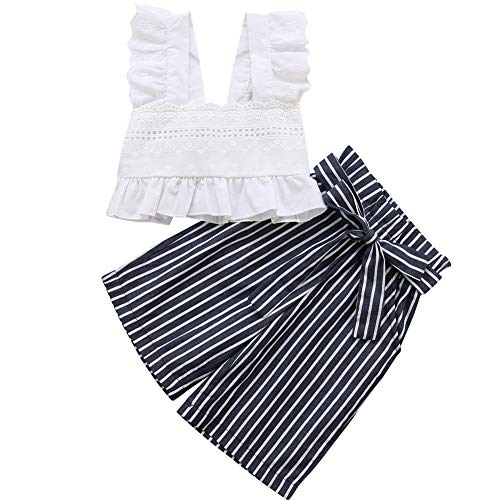 Vest Wide Leg Pants - Baby Toddler Girls Lace Crop Top Vest with Striped Bow-Knot Waist Wide Leg Pant Outfits (White, 3-4 Year)
