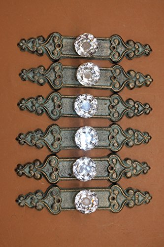 Elegant Crystal Drawer Pulls Cast Iron Bronze-look Backplate, 7 inch long, HW-25, Set of 6 ()