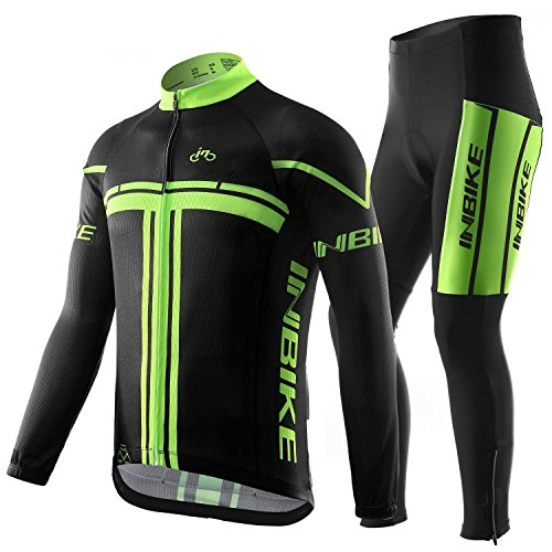INBIKE Mens Long Sleeve Cycling Jersey Full Zipper Fast Dry Compression Tights XX-Large Green&Black