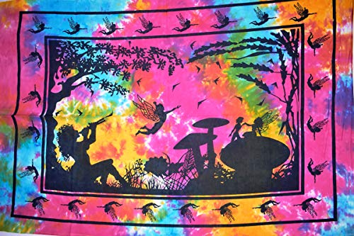 Traditional Jaipur Tie Dye Fairy Poster, Hippie Wall Hanging, Cotton Psychedelic Poster, Bohemian Picnic Throw, Gypsy Boho Dorm Decor 30 x 40 inches