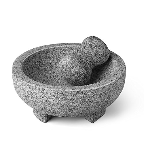 Flexzion Granite Mortar and Pestle Set - Solid Granite Stone Grinder Bowl Holder 7.9 Inch For Guacamole, Herbs, Spices, Garlic, Kitchen, Cooking, Medicine