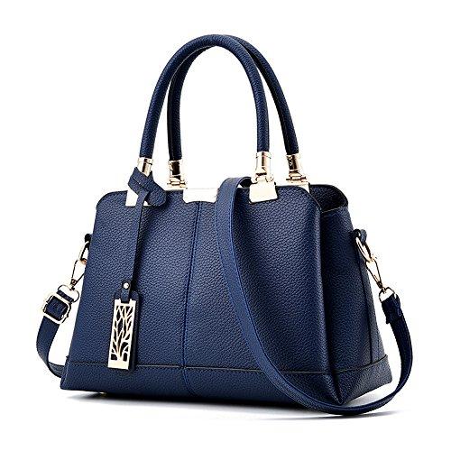 Cabas Mode Handbag Femme D'épaule Pu Sac À Cuir Chic Bandoulière Bleu Casual Pas Cher Fille Women Kangrunmys Main Bag avARxwwY