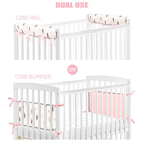 BROLEX Dual Use Crib Rail Cover,Crib Bumper Pads-2 Pack for Narrow Side Rails,Fit Rails up to 8