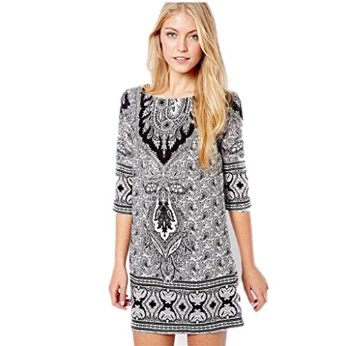 Totem Floral Print Mini Dress (Black) - 4