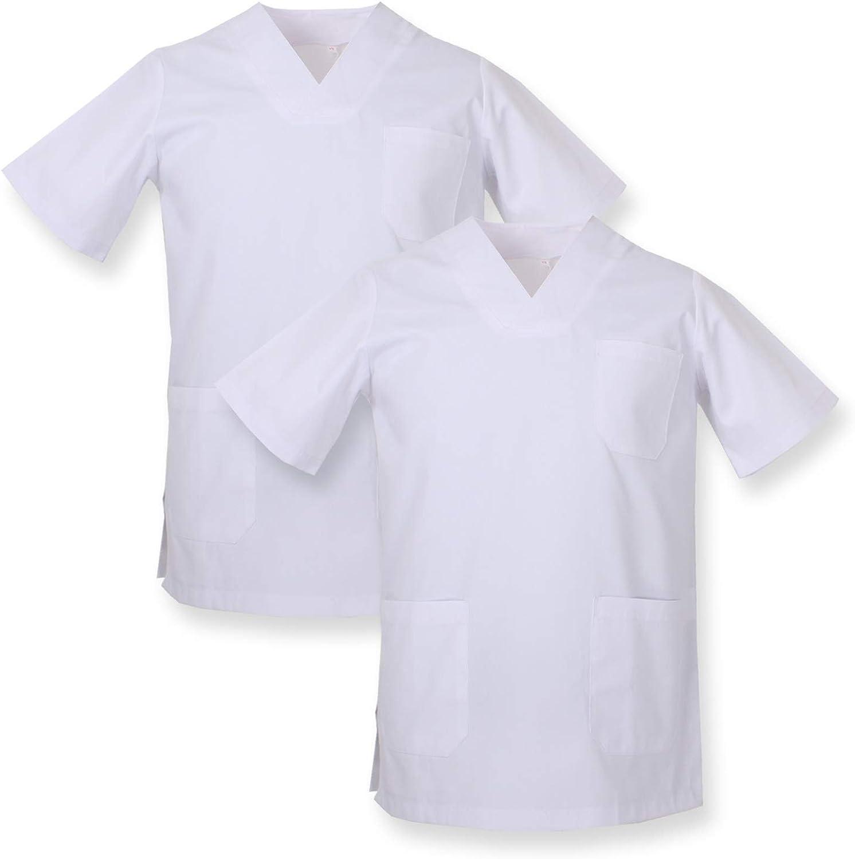MISEMIYA - Pack*2 - Casaca Sanitarios Unisex Uniformes Sanitarios Cuello Pico Mangas Cortas Uniformes Laboratorios - Ref.817 * 2