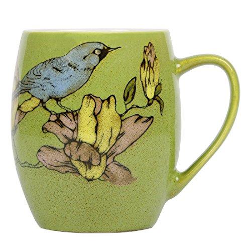 Ceramic Coffee Mug, Momugs Pretty Tree Bird Tea Porcelain Cup for Girl as A Gift, Green ()