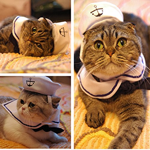MMdex Adjustable Pet Cat Dog Puppy Kitten Clothes Costume Sailor Suit Outfit Hat and Cape