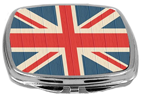 Rikki Knight Compact Mirror on Distressed Wood Design, United Kingdom Flag, 3 Ounce by Rikki Knight (Image #1)
