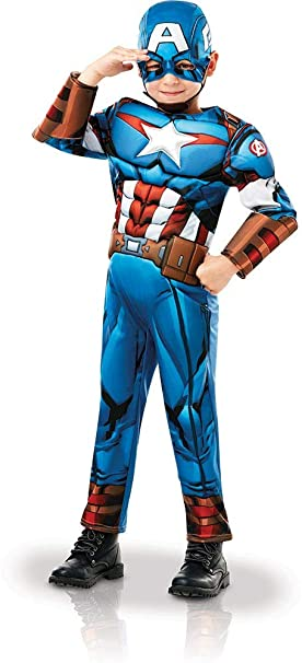 5920e09a3cf02f Rubies-Deguisement Luxe Captain America Serie Animee Taille S, Boys,  640833S, Bleu