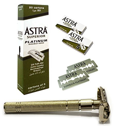 GF-114 Classic Samurai Gift Set, With CS-301 Classic Samurai Butterfly Twist to Open Double Edge Safety Razor and 100 ASTRA Superior Platinum Double Edge Razor Blades. GREAT GIFT IDEA for your Boyfriend, Husband or Father