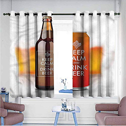 Mdxizc Breathable Curtain Man Cave Keep Calm and Drink Beer Durable W72 xL63 Suitable for Bedroom,Living,Room,Study, etc.