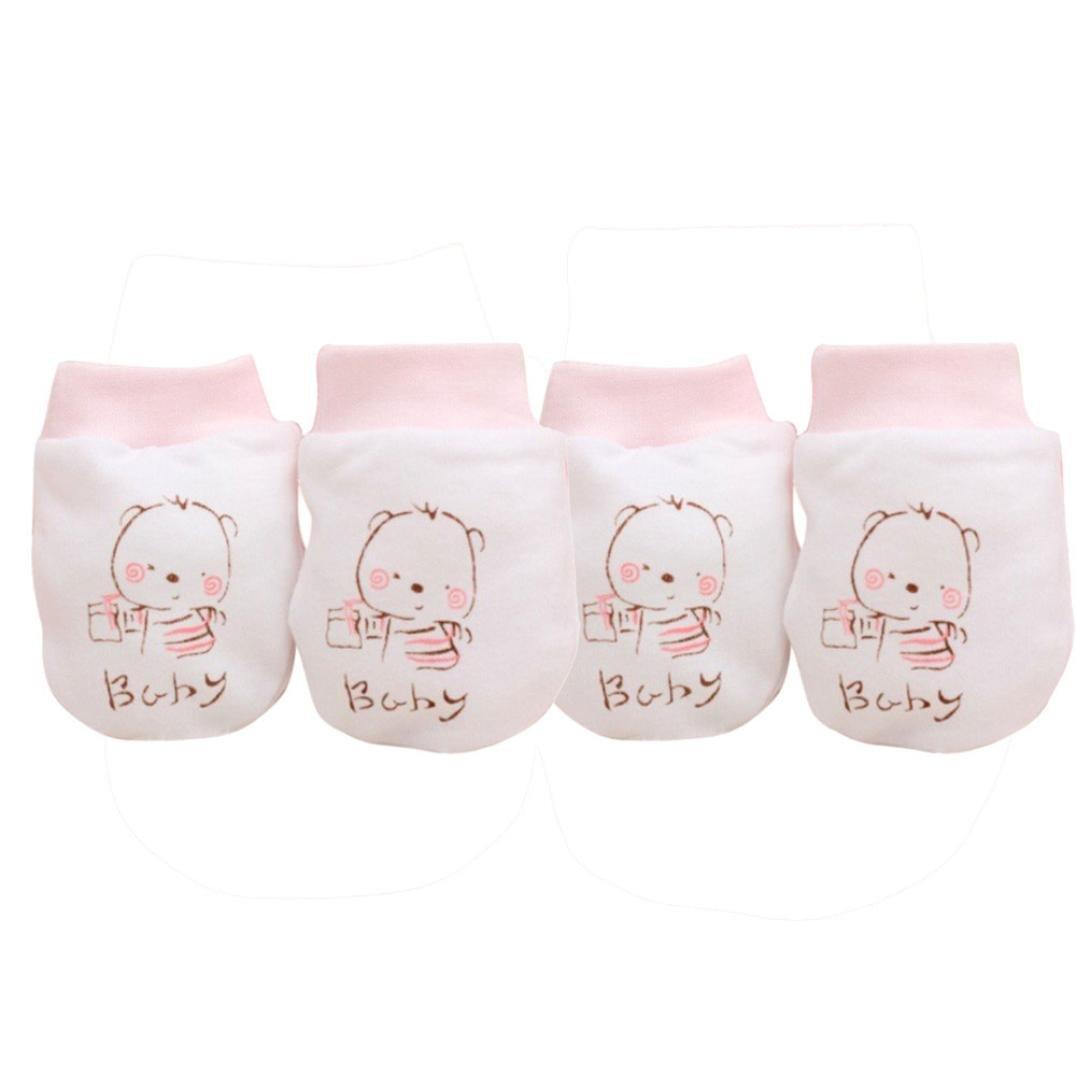 Kolylong 2 Pairs Cute Cartoon Baby Infant Boys Gitls Anti Scratch Mittens Soft Newborn Gloves Gift Kolylong-JI5