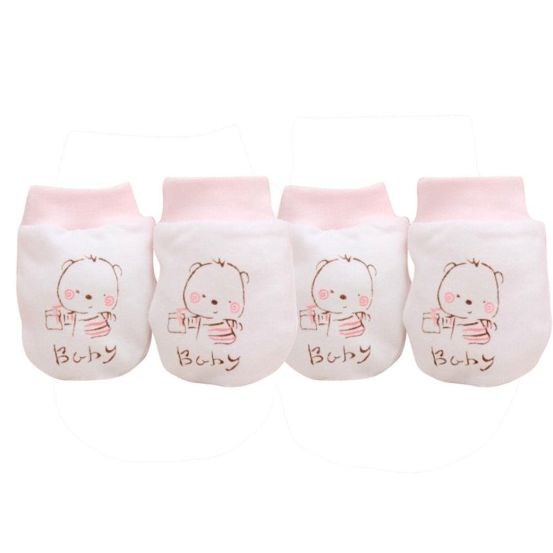 Kolylong 2 Pairs Cute Cartoon Baby Infant Boys Gitls Anti Scratch Mittens Soft Newborn Gloves Gift