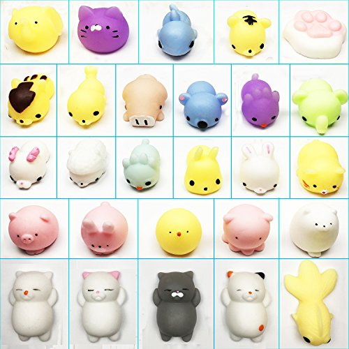 (SCStyle 27 Styles Cute Mochi Animals Kawaii Tiny Squishies Mini Soft Squishy Toys Cat Stretchy Animal Stress Relief Seal Squeeze Fidget Toy for Kids Gift Random Color Set of 27 Pack different of toys)