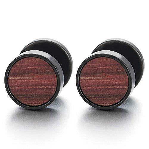 10mm Mens Women Black Circle Stud Earrings with Wood, Steel Cheater Fake Ear Plugs Gauges Tunnel 01