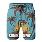 Adults Summer Heat Sunset Coconut Trees Hawaiian Shorts Elastic Waist Quick Dry Board Shorts