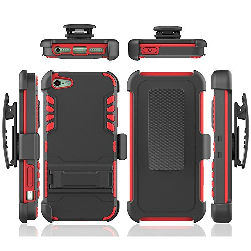 iphone 5s case, iphone se case, Feitenn Tough Metal Iron Arnor Hard Hybrid case with Kickstand stand belt clip case cover for iphone 5,iphone se screen protector (Red)