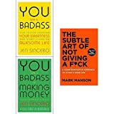 Books : You are a badass jen sincero, at making money, subtle art of not giving a fck [hardcover] 3 books collection set
