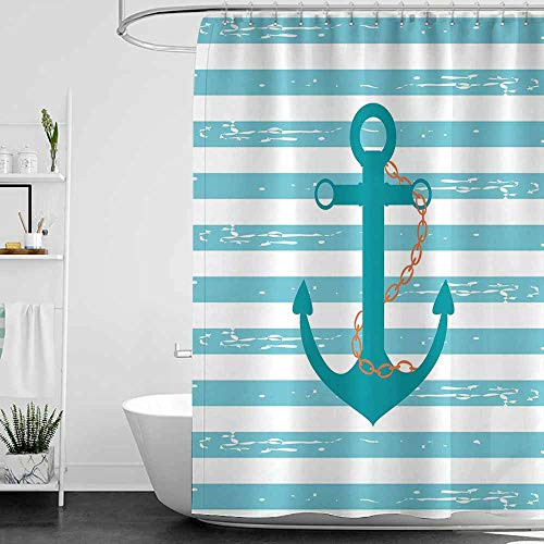 SKDSArts Shower Curtains Quotes Teal,Ship Anchor Chain Marine Life Inspired with Lined Background Ocean Sailing,Teal Turquoise White,W65 x L72,Shower Curtain for Women