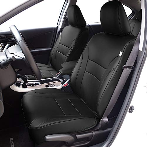 - BeHave Autos Car Leather Seat Covers Fit Honda Accord 2014 2015 2016 2017 Auto Full Set Seat Cushion Protector 4pcs Saddle Cover,4pcs Back Cover,5pcs Headrest Cover(Black)