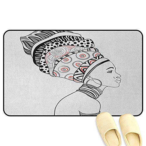 homecoco African Rug Mat Welcome Doormat Exotic Safari Lady in Boho Turban Glamour Authentic Folkloric Fashion Design Print Grey White Decorative Floor Mat W47 x L59 INCH
