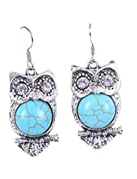 Owl Turquoise Dangle Pendant Women Earrings As Wise As An Owl Boucle D'oreille