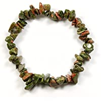 Unakite Gemstone Chip Bracelet by None