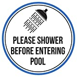 Please Shower Before Entering Swimming Pool Spa Warning Round Sign, Metal - 9 Inch