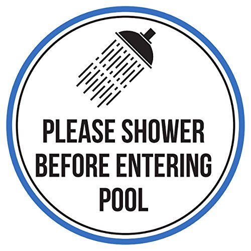 iCandy Products Inc Please Shower Before Entering Swimming Pool Spa Warning Round Sign, Metal - 9 Inch