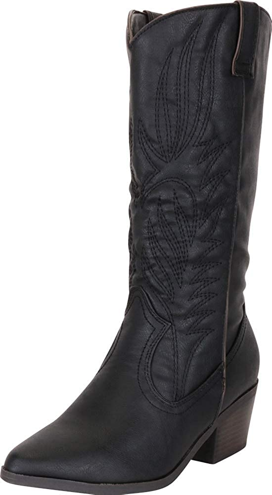 Black Pu Cambridge Select Women's Western Pointed Toe Embroidered Stitched Stacked Heel Mid-Calf Cowboy Boot