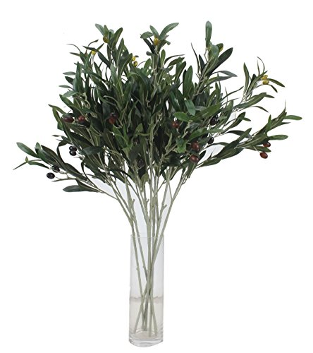 Duovlo 28'' Artificial Green Olive Branches Plants Peace Leaves Flowers for Home Office Garden Decoration,Pack of (Olive Branch Peace)