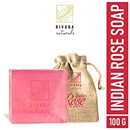 Rivona Naturals Indian Rose Soap for Skin Whitening, Deep Cleansing, Refreshing & Exfoliation for Men & Women, Natural…