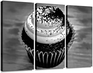 BELISIIS red Velvet Cup Cake Food Black and White Wall Artwork Exclusive Photography Vintage Paintings Print on Canvas Home Decor Wall Art 3 Panels Framed Ready to Hang