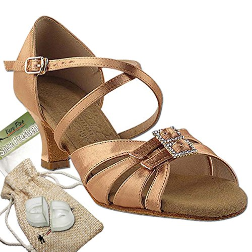 Women's Ballroom Dance Shoes Salsa Latin Practice Dance Shoes Silver Tan Satin S92307EB Comfortable - Very Fine 2