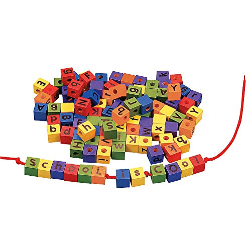 Fun Express 104 Colorful Wood Alphabet Lacing Beads