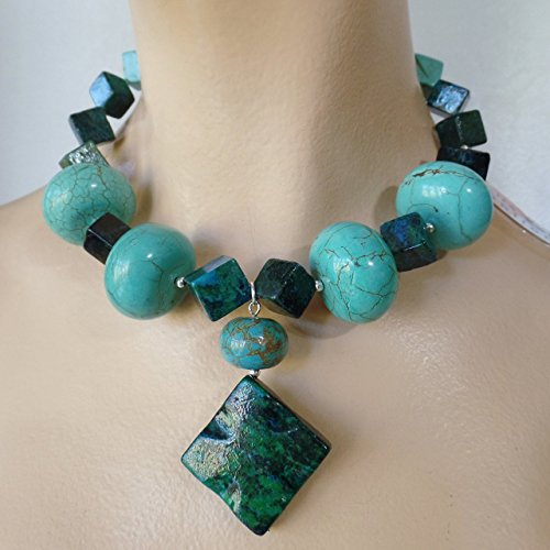 2d133314375f9 Amazon.com: Claire Kern Creations Chunky Turquoise Silver Beads ...