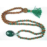 Rudraksha Mala Jewelry Green Jade Heart Meditation Yoga Healing Prayer Beads Necklace