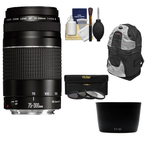 Canon EF 75-300mm f/4-5.6 III Zoom Lens with Backpack + 3 UV/CPL/ND8 Filters + Hood + Kit for EOS 5D Mark II III, 6D, 7D, 70D, Rebel T3, T3i, T5, T5i, SL1 Cameras